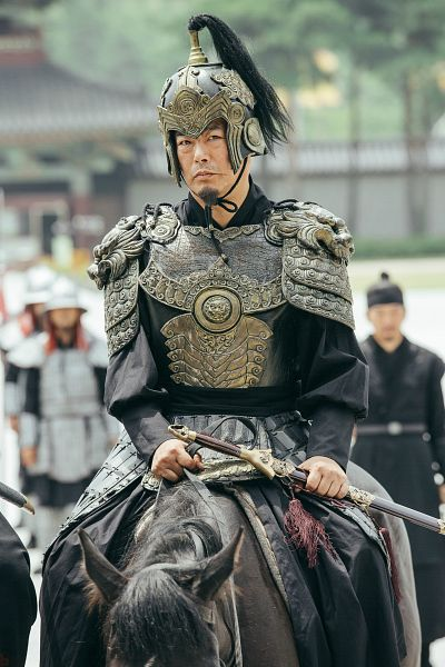 Tags: K-Drama, Sung Dong-il, Traditional Clothes, Horse, Korean Clothes, Sword, Horseback Riding, Beard, Sitting, Armor, Serious, Weapons
