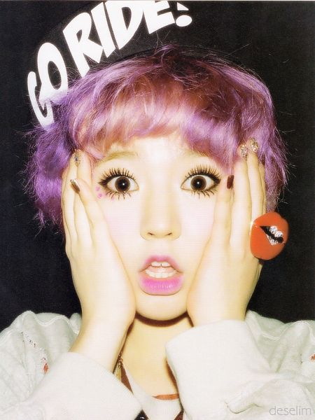 Tags: K-Pop, Girls' Generation, I Got A Boy, Sunny, Make Up, Hand On Head, Hat, Dark Background, Purple Hair, Nail Polish, Hand On Cheek, Black Headwear