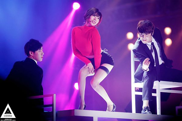 Tags: K-Pop, Girls' Generation, Bloom, Sunny, Black Jacket, Black Shorts, High Heels, Red Shirt, Bare Legs, Looking Ahead, Tie, Black Neckwear