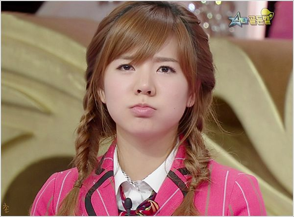 Tags: K-Pop, Girls' Generation, Sunny, Pink Jacket, Twin Braids, Frown, Pouting, Striped, Pink Outerwear, Braids, Striped Jacket