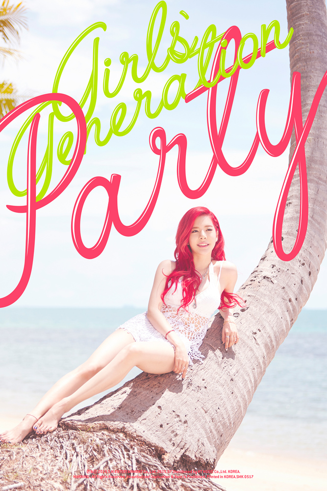 Tags: K-Pop, Girls' Generation, Party (song), Sunny, Red Hair, Leaning Back, Text: Song Title, Text: Artist Name, Full Body, Hand On Leg, Looking Away, Sitting In Tree