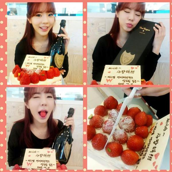 Tags: K-Pop, Girls' Generation, Sunny, Wink, Wine, Eyes Closed, Strawberry, Sweets, Cake, Fruits, Instagram