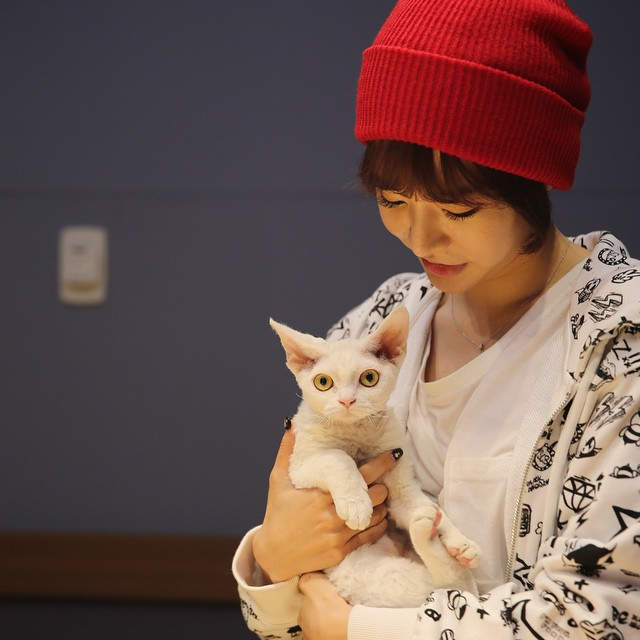 Tags: K-Pop, Girls' Generation, Sunny, Salt, Cat, White Outfit, Looking At Another, Red Headwear, Eyes Half Closed, White Jacket, FM Date, Instagram