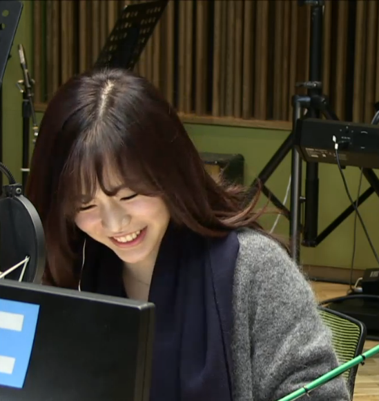 Tags: Girls' Generation, Sunny, Microphone, Looking Down, Blue Neckwear, Scarf, Computer, Eyes Closed, Gray Jacket, FM Date