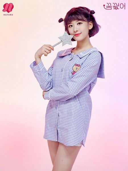 Tags: Nature, Sunshine, Nightwear, Blue Outfit, Wand, Purple Hair, Text: Artist Name, Medium Hair, Weapons, Bare Legs, Checkered, Korean Text