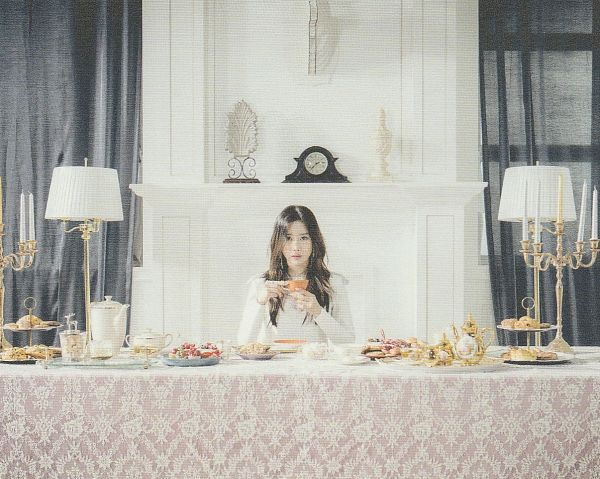 Tags: K-Pop, Berry Good, Berry Good Heart Heart, Crazy Gone Crazy, Taeha, Food, Fireplace, Table, Clock, Candle, Black Eyes, Serious