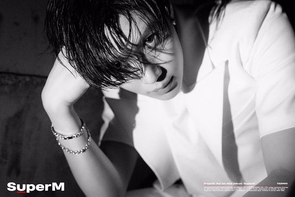 Tags: K-Pop, SuperM, SHINee, Taemin, Bracelet, Hand In Hair, Text: Artist Name, Gray Background, Black Eyes, Monochrome