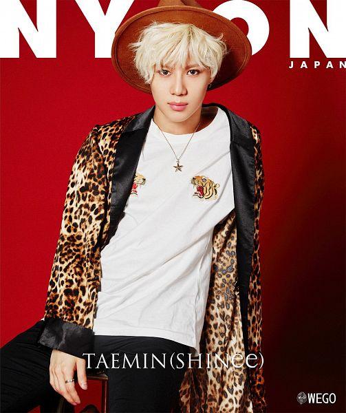 Tags: SM Town, K-Pop, SHINee, Taemin, Text: Magazine Name, White Hair, Chair, Text: Artist Name, Sitting On Chair, Magazine Cover, Nylon