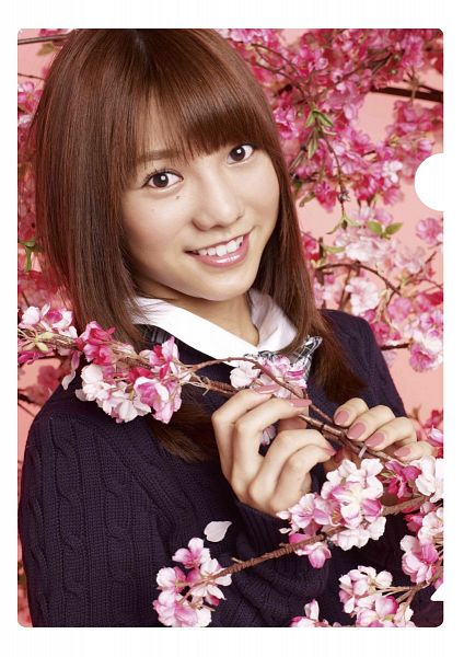 Tags: J-Pop, AKB48, Takajo Aki, White Border, Pink Flower, Black Outerwear, Black Jacket, Pink Background, Cherry Blossom