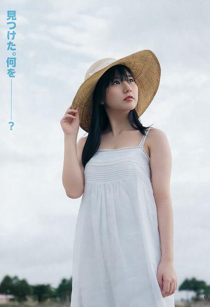 Tags: J-Pop, HKT48, Tanaka Miku, White Dress, Bare Shoulders, Looking Up, Sleeveless, Sleeveless Dress, Hat, Japanese Text, White Outfit, Sky