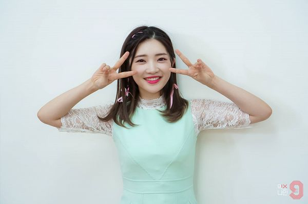 Tags: YG Entertainment, K-Pop, Television Show, Real Girls Project, Teramoto Yukika, White Background, V Gesture, Korean Text, Earrings, Text: Series Name, Light Background, MIXNINE
