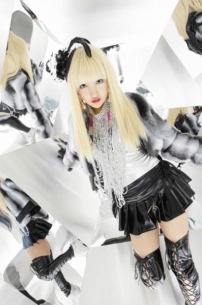 Tags: AKB48, Tomomi Itano, Gray Jacket, Necklace, Black Legwear, Skirt, Thigh Boots, Black Skirt, Black Headwear, Light Background, Gray Outerwear, White Background