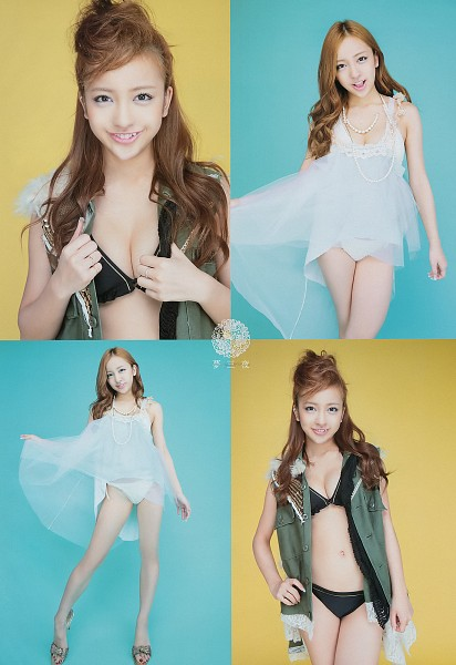 Tags: AKB48, Tomomi Itano, Necklace, Suggestive, Japanese Text, Lingerie, Cleavage, Bra, Hand On Hip, Shirt Lift, Panties, No Background