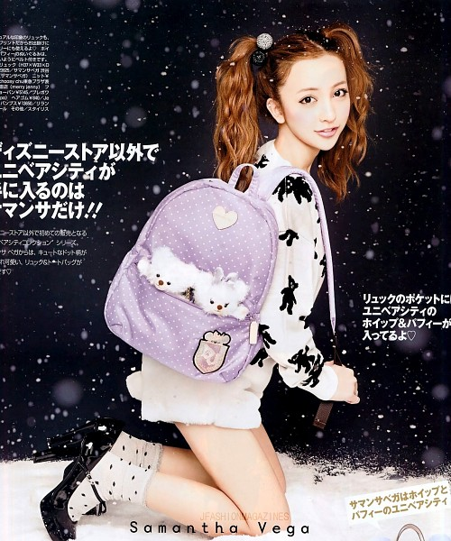 Tags: J-Pop, AKB48, Tomomi Itano, Socks, Japanese Text, Shoes, Spotted, Wavy Hair, Dark Background, Backpack, Bare Legs, Twin Tails