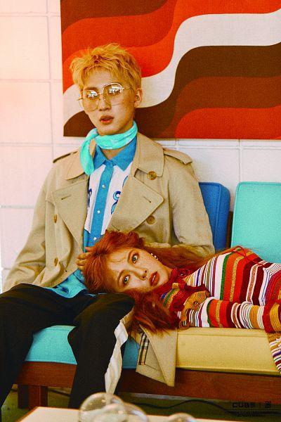 Tags: Cube Entertainment, K-Pop, Triple H, 4Minute, Pentagon, Hyuna, Hui, Freckles, Red Hair, Duo, Facial Mark, Blue Shirt