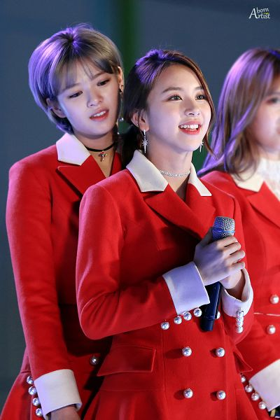 Tags: JYP Entertainment, K-Pop, Twice, Son Chaeyoung, Yoo Jeongyeon, Matching Outfit, Gray Hair, Duo, Choker, Red Jacket, Hair Up, Red Outerwear