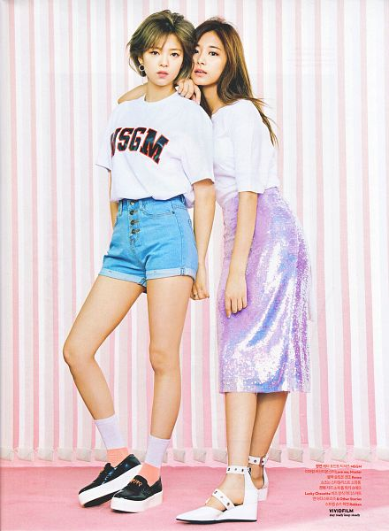 Tags: JYP Entertainment, K-Pop, Twice, Yoo Jeongyeon, Tzuyu, Jeans, Korean Text, White Footwear, Skirt, Holding Close, Full Body, Two Girls