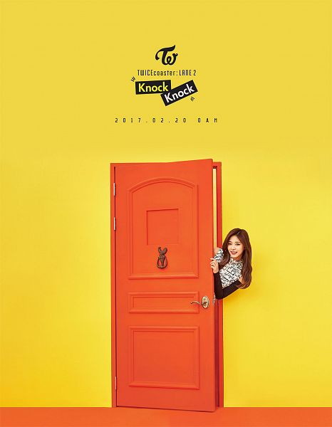 Tags: JYP Entertainment, K-Pop, Twice, Tzuyu, Yellow Background, Text: Calendar Date, Text: Song Title, Text: Artist Name, Door, Android/iPhone Wallpaper, Twicecoaster: Lane 2