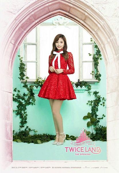 Tags: JYP Entertainment, K-Pop, Twice, Tzuyu, Silver Footwear, Red Outfit, High Heels, Frame, Red Dress, White Neckwear, Text: Artist Name, Window