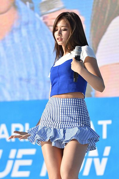 Tags: K-Pop, Twice, Tzuyu, From Below, Eyes Closed, Blue Background, Blue Shirt, Striped Skirt, Bare Legs, Midriff