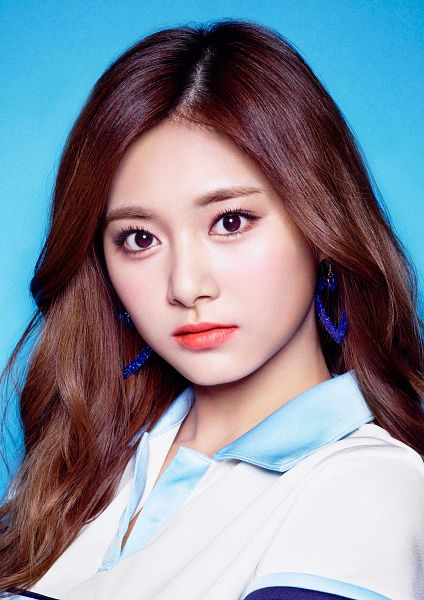 Tags: J-Pop, K-Pop, Twice, JYP Entertainment, Tzuyu, Collar (Clothes), Simple Background, Multi-colored Shirt, Jewelry, Blue Background, Earrings, Closed Mouth