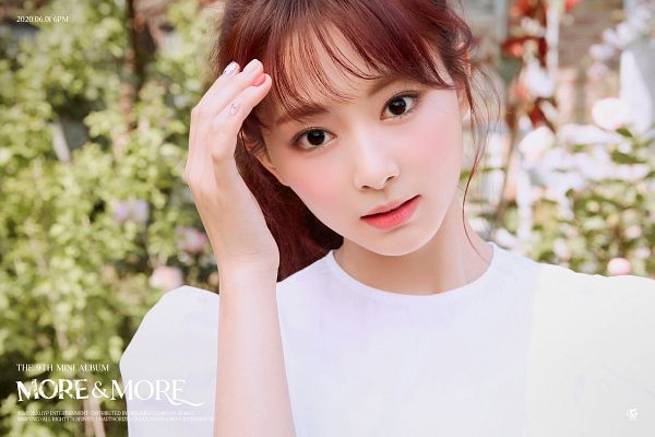 Tags: K-Pop, Twice, Tzuyu, Text: Calendar Date, White Outfit, Text: Album Name, Hand In Hair, Outdoors, Nail Polish, White Dress, Make Up, MORE & MORE