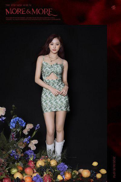 Tags: K-Pop, Twice, Tzuyu, Necklace, Sleeveless Dress, Midriff, Knee Boots, Dark Background, Red Background, Bare Shoulders, Flower, Black Background