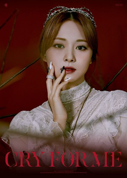 Tags: K-Pop, Twice, Cry For Me, Tzuyu, Necklace, Nail Polish, Hand On Cheek, Make Up, Text: Song Title, Tiara, Text: Artist Name, Red Background