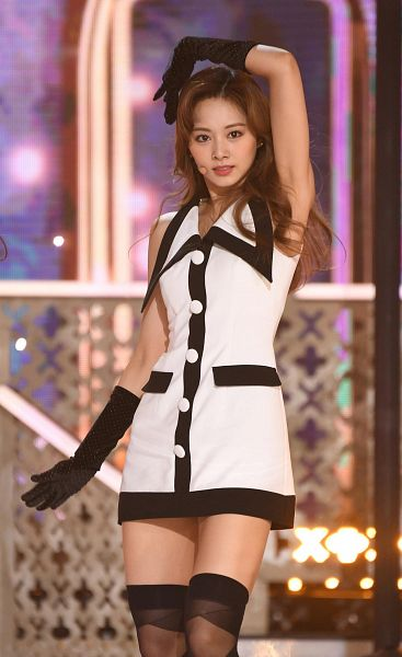 Tags: K-Pop, Twice, Tzuyu, Thigh Highs, Sleeveless Dress, White Outfit, Gloves, Black Legwear, Hand In Hair, Black Gloves, White Dress, Bare Shoulders