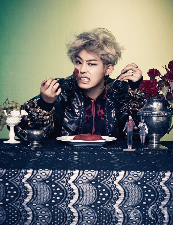 Tags: K-Pop, Block B, U-kwon, Fruits, Ring, Meat, Food, Silverware, Multi-colored Background, Flower, Grapes, Table