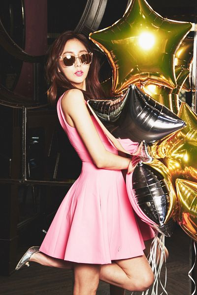 Tags: K-Pop, After School, Uee, Standing On One Leg, Glasses, Sunglasses, Balloons, High Heels, Silver Footwear, Pink Outfit, Pink Dress, Android/iPhone Wallpaper