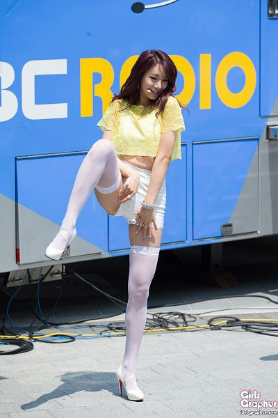 Tags: K-Pop, BESTie, Uji, Hand On Leg, Leg Up, Shorts, Bare Legs, Yellow Shirt, Spread Legs, Thigh Highs, Standing On One Leg, High Heels
