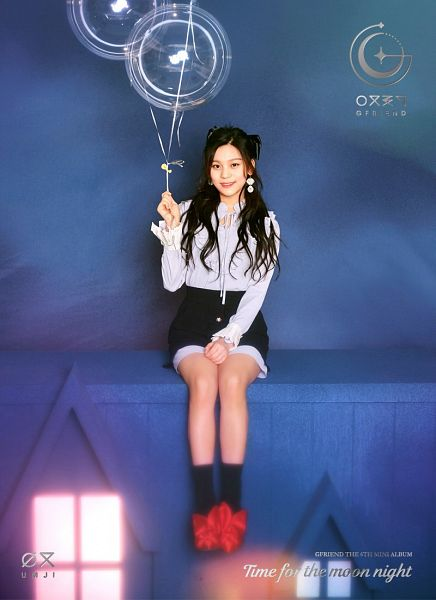Tags: K-Pop, G-friend, Umji, Holding Object, Balloons, English Text, Blue Background, Full Body, Text: Artist Name, Socks, Text: Album Name, Black Skirt