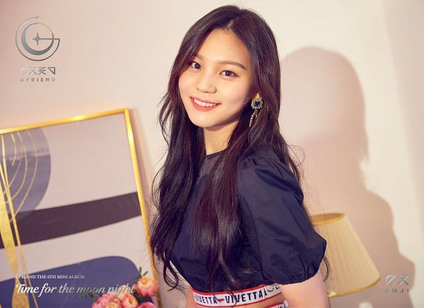 Tags: K-Pop, G-friend, Umji, Text: Artist Name, Teeth, Text: Album Name, English Text, Shadow, Earrings, Short Sleeves, Time for the Moon Night