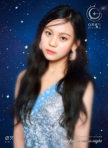 Tags: K-Pop, G-friend, Umji, Serious, Earrings, Blue Dress, Blue Outfit, Blue Background, Time for the Moon Night