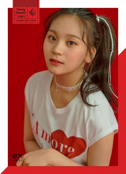 Tags: K-Pop, G-friend, Umji, Choker, Red Background, Red Lips, Side Tail, Make Up, Ponytail, Short Sleeves, Sunny Summer