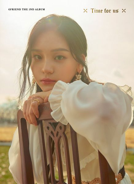 Tags: K-Pop, G-friend, Umji, Earrings, Text: Artist Name, English Text, Chair, Text: Album Name, Ring, Serious, White Dress, Belt