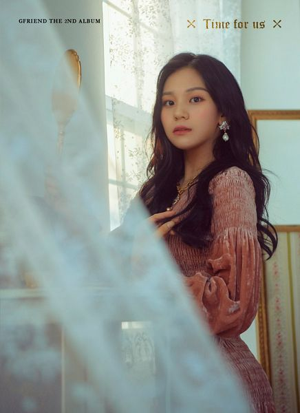 Tags: K-Pop, G-friend, Umji, Blush (Make Up), Orange Outfit, Orange Dress, English Text, Text: Artist Name, Red Lips, Earrings, Text: Album Name, Make Up
