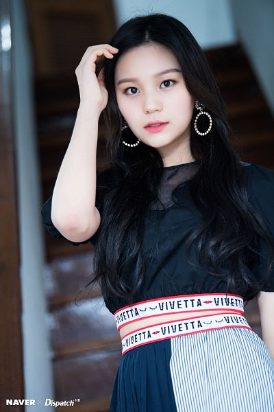 Tags: K-Pop, G-friend, Umji, Stairs, Hand In Hair, Text: Brand Name, Skirt, From Below, Striped Skirt, Blue Skirt, Dispatch