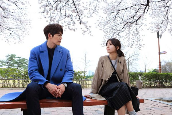 Tags: K-Pop, K-Drama, Miss A, Bae Suzy, Kim Woo-bin, Brown Outerwear, Plant, Tree, Bag, Pink Flower, Sitting On Bench, Cherry Blossom