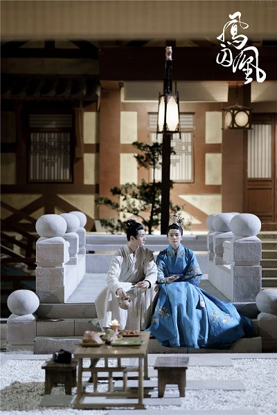 Tags: C-Drama, He Fengtian, Bai Lu, Hair Up, Chinese Text, Chinese Clothes, Traditional Clothes, Hair Ornament, Looking At Another, Blue Dress, Lamp, Single Bun