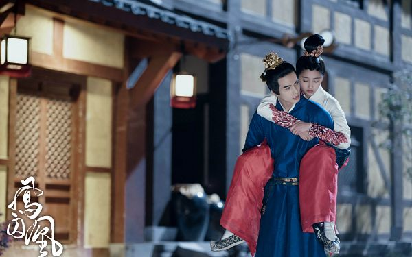 Tags: C-Drama, Song Weilong, Guan Xiaotong, Duo, House, Looking At Another, Chinese Text, Carry, Traditional Clothes, Hair Ornament, Eyes Closed, Hug From Behind