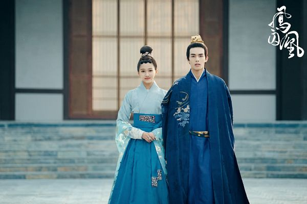 Tags: C-Drama, Guan Xiaotong, Song Weilong, Blue Dress, Wide Sleeves, Hair Ornament, Blue Outfit, Couple, Duo, Chinese Clothes, Stairs, Traditional Clothes