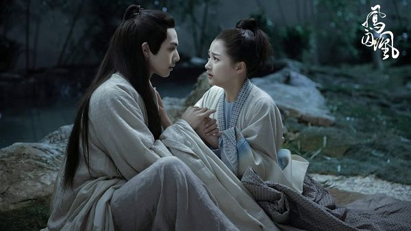 Tags: C-Drama, Guan Xiaotong, Song Weilong, Chinese Text, Wide Sleeves, Rocks, Night, Sad, Duo, Chinese Clothes, Couple, Traditional Clothes