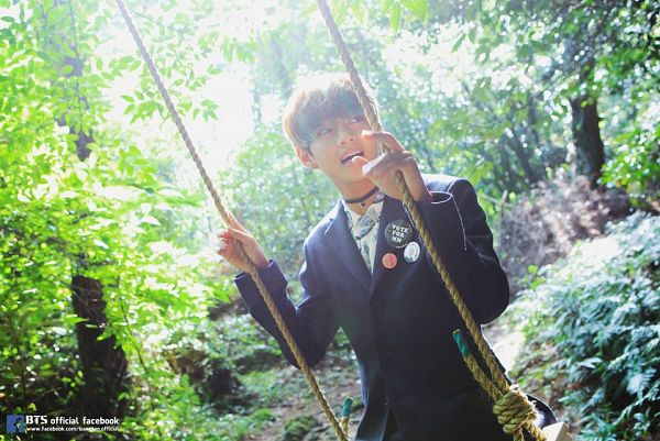 Tags: K-Pop, BTS, V (Kim Taehyung), Forest, Looking Back, Outdoors, Black Jacket, Swing, Tree, Plant, Choker, The Most Beautiful Moment in Life pt.2