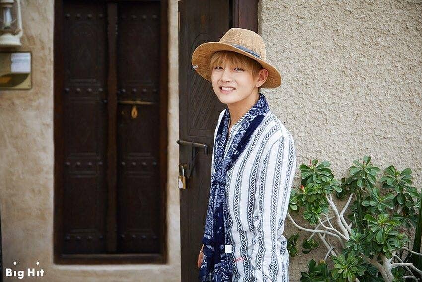 Tags: K-Pop, BTS, V (Kim Taehyung), Striped, Striped Shirt, Door, Grin, Hat, BTS 2016 Summer Package