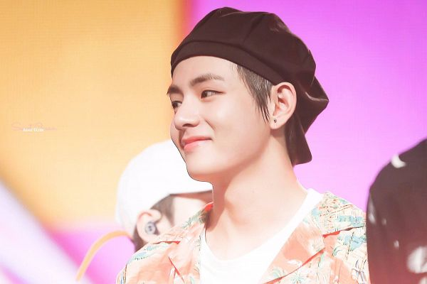 Tags: K-Pop, BTS, V (Kim Taehyung), Hat, Floral Jacket, Orange Outerwear, Black Headwear, Floral Print