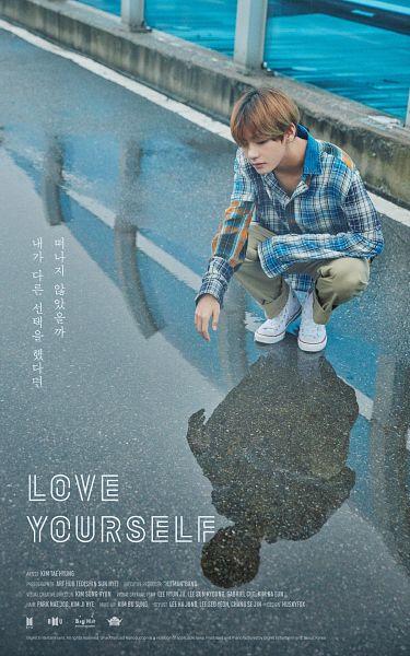 Tags: K-Pop, BTS, V (Kim Taehyung), Text: Artist Name, Reflection, Plaided Shirt, Plaided Print, Crouching, Text: Company Name, English Text, Looking At Reflection, Bridge
