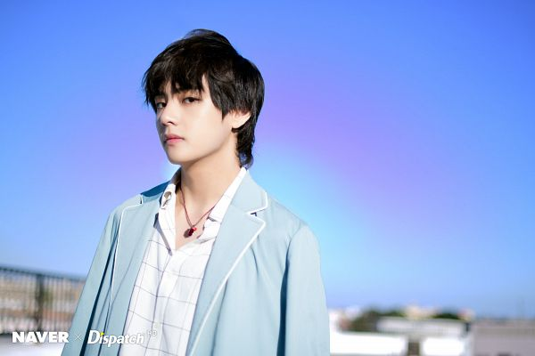 Tags: K-Pop, BTS, V (Kim Taehyung), Close Up, Blue Outerwear, Sky, Open Coat, Coat, Plaided Print, Collar (Clothes), Day, Necklace