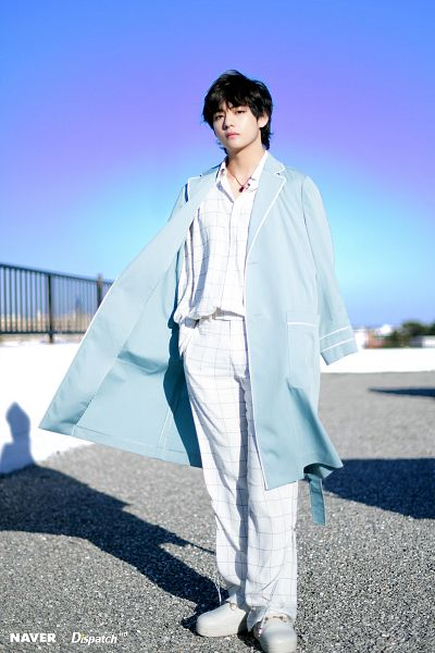 Tags: K-Pop, BTS, V (Kim Taehyung), Plaided Shirt, Coat, Serious, Open Coat, Wind, Necklace, White Footwear, Day, Blue Outerwear